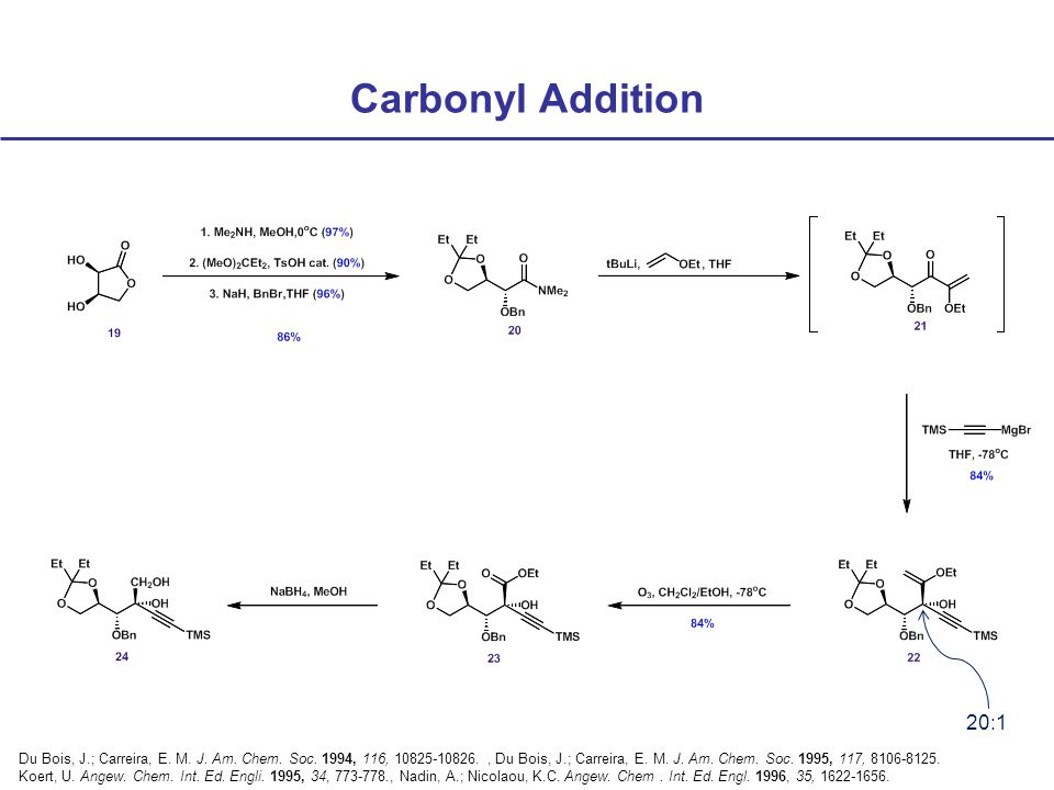Carbonyl Addition 20:1 Du Bois, J.; Carreira, E. M.