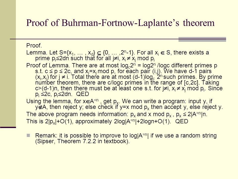 Proof of Buhrman-Fortnow-Laplante's theorem Proof.