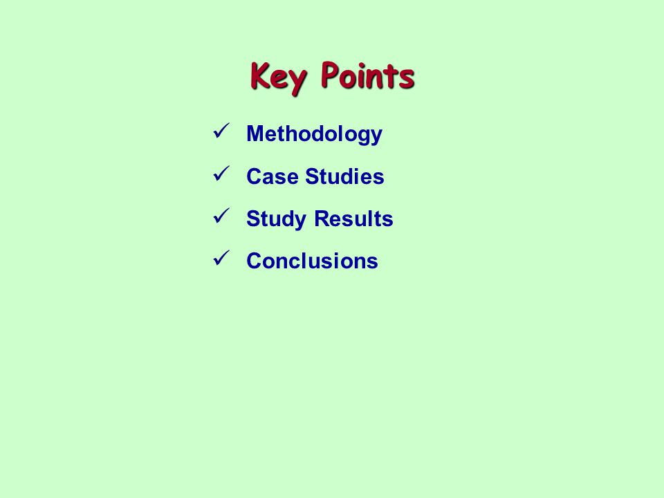 Methodology Research Methods Agency document review Program theory application Check-rank-evaluate questionnaire Follow-up interviews Limitations Analytical statistical techniques could not be used Telephone interviews lack nonverbal cues Only executive-level respondents included Only an organizational perspective was obtained Target population perspectives might differ