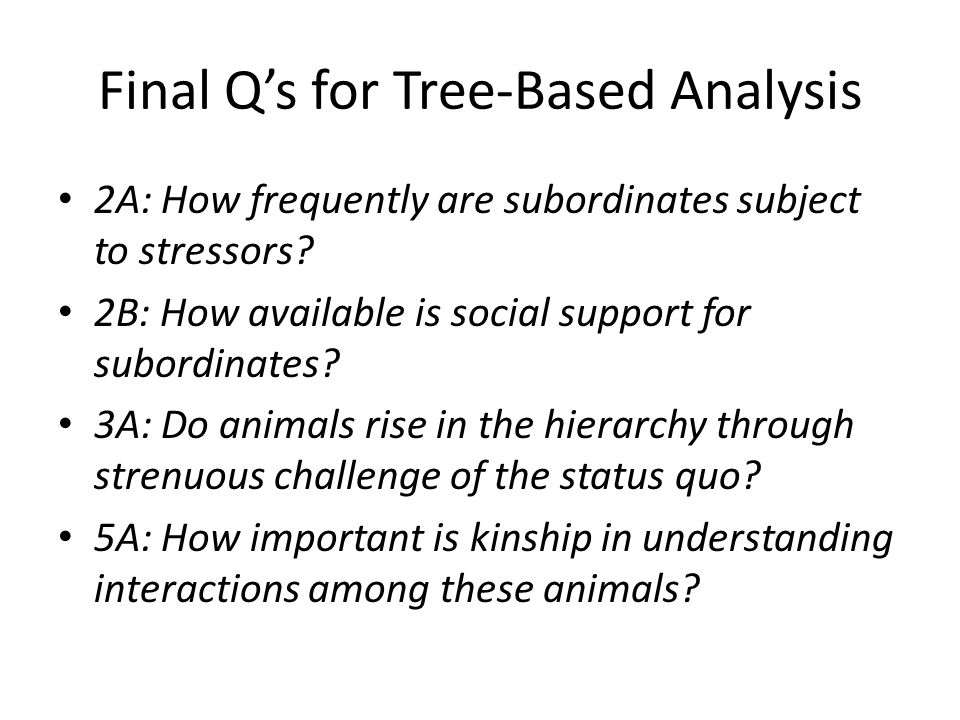 Final Q's for Tree-Based Analysis 2A: How frequently are subordinates subject to stressors? 2B: How available is social support for subordinates? 3A: