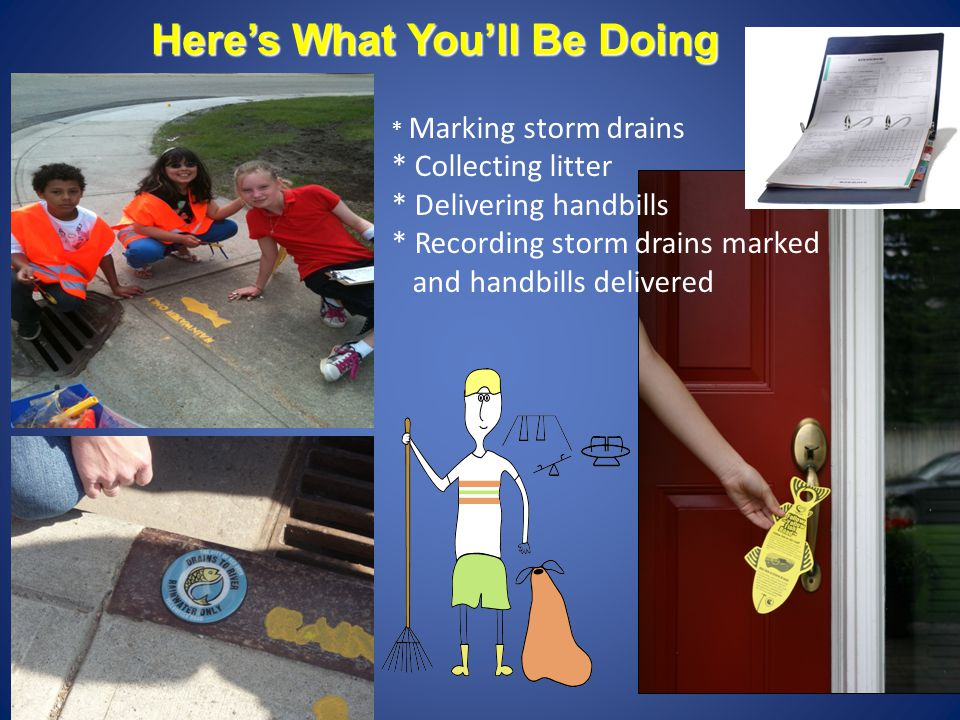 Here's What You'll Be Doing * Marking storm drains * Collecting litter * Delivering handbills * Recording storm drains marked and handbills delivered