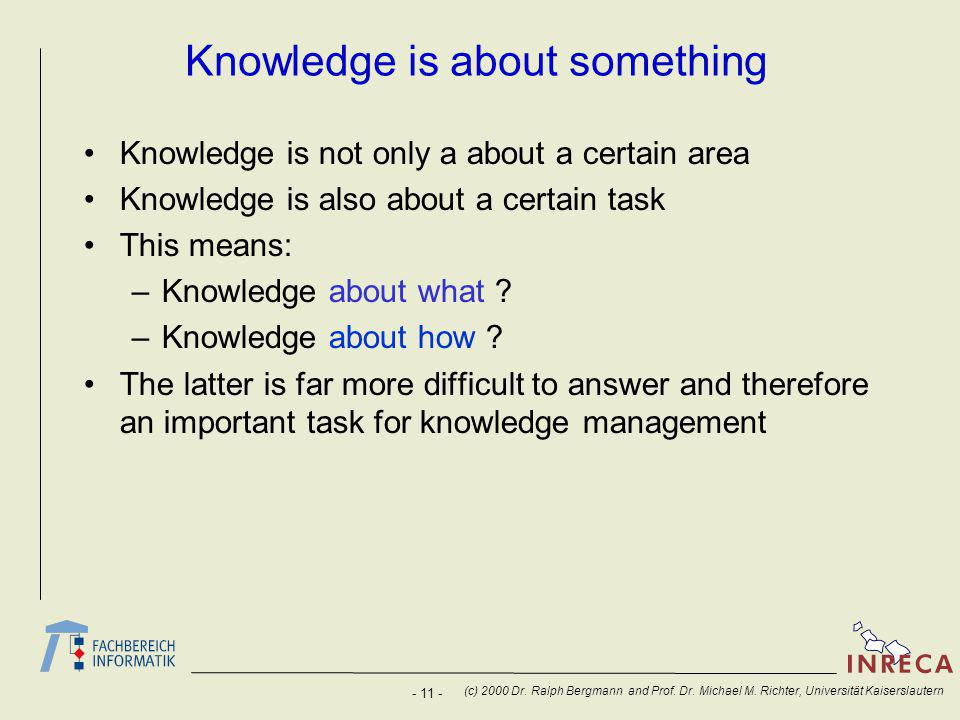 - 11 - (c) 2000 Dr. Ralph Bergmann and Prof. Dr.