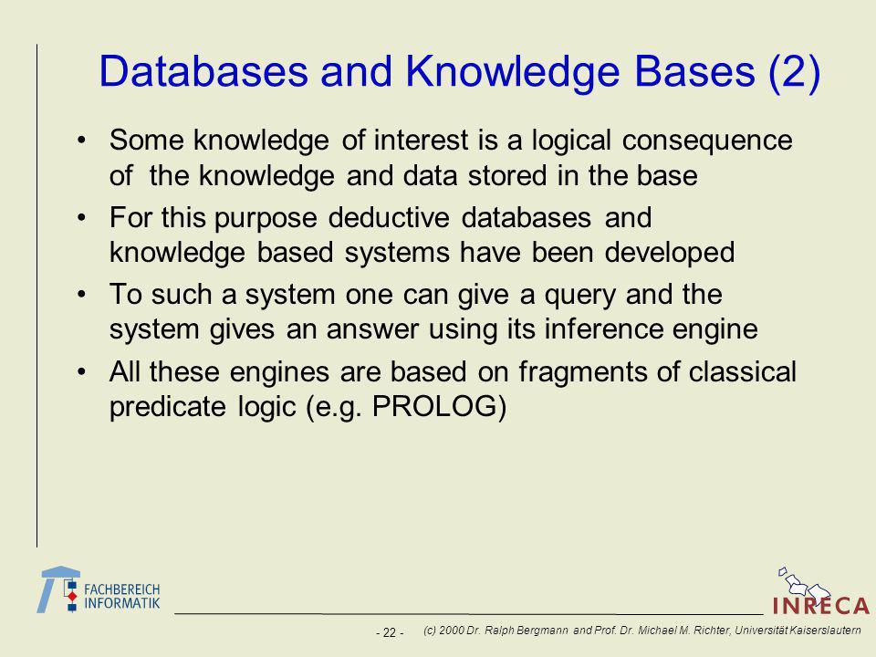 - 22 - (c) 2000 Dr. Ralph Bergmann and Prof. Dr.