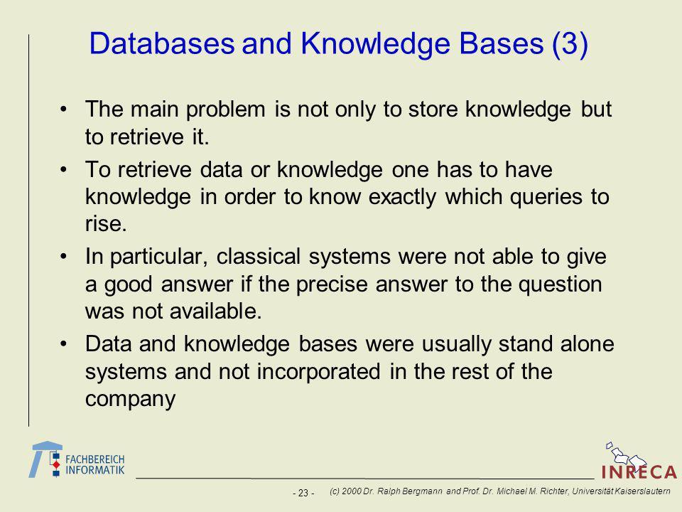 - 23 - (c) 2000 Dr. Ralph Bergmann and Prof. Dr.