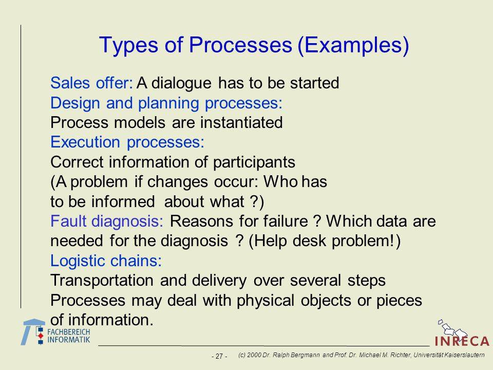 - 27 - (c) 2000 Dr. Ralph Bergmann and Prof. Dr. Michael M. Richter, Universität Kaiserslautern Types of Processes (Examples) Sales offer: A dialogue
