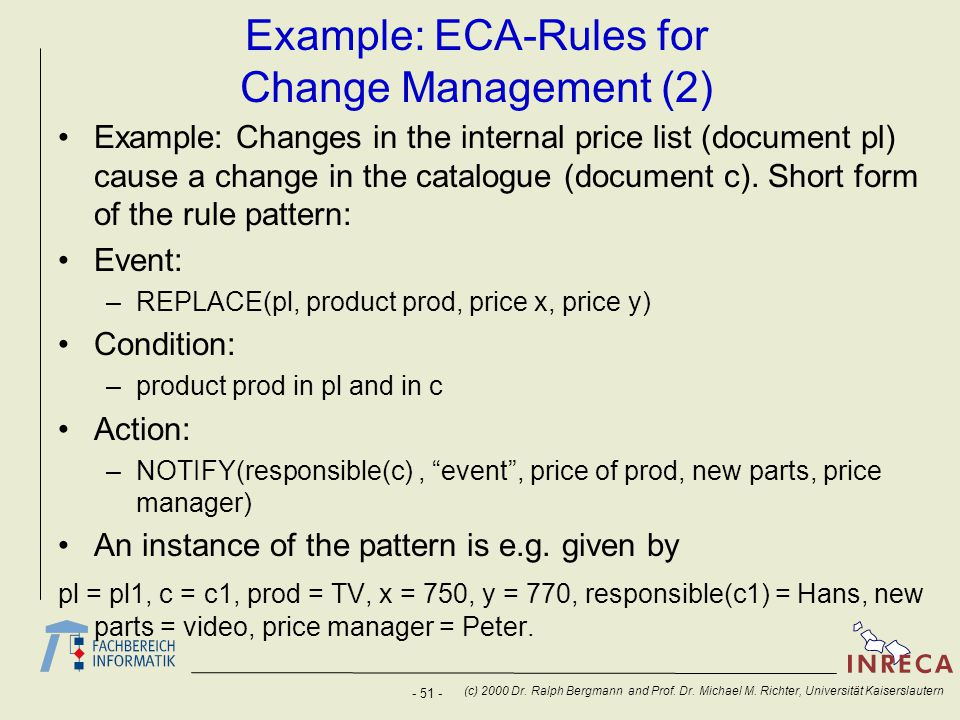 - 51 - (c) 2000 Dr. Ralph Bergmann and Prof. Dr. Michael M. Richter, Universität Kaiserslautern Example: ECA-Rules for Change Management (2) Example: