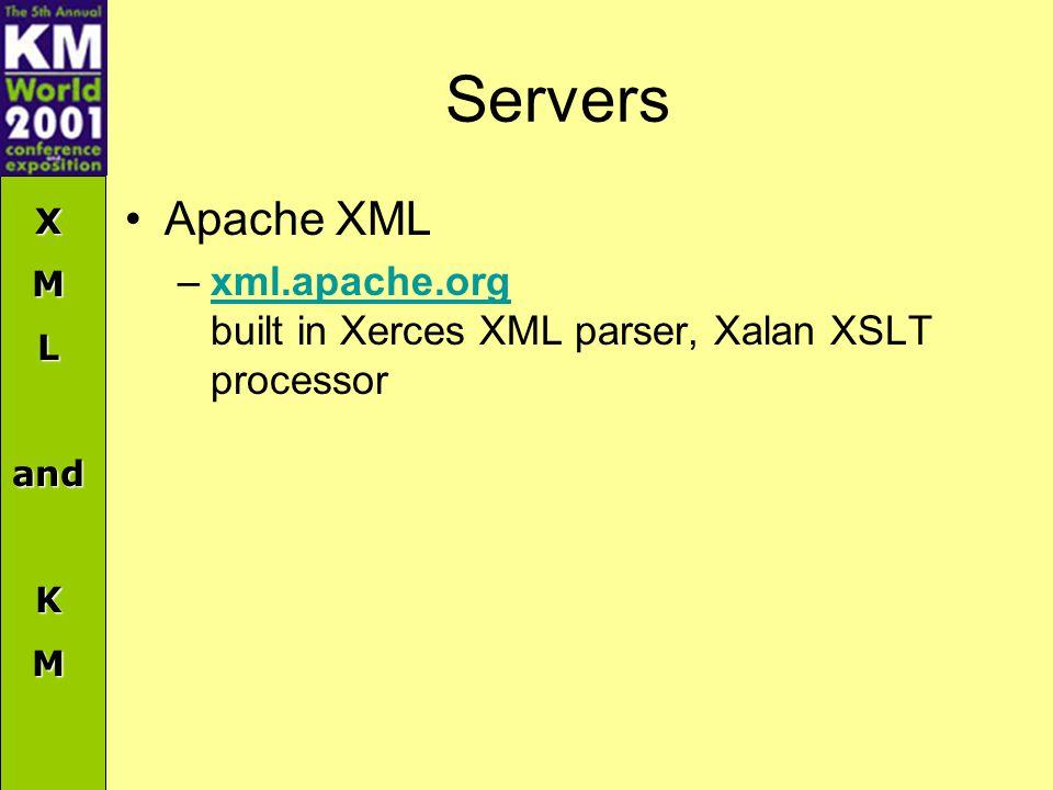 XMLandKM Servers Apache XML –xml.apache.org built in Xerces XML parser, Xalan XSLT processorxml.apache.org