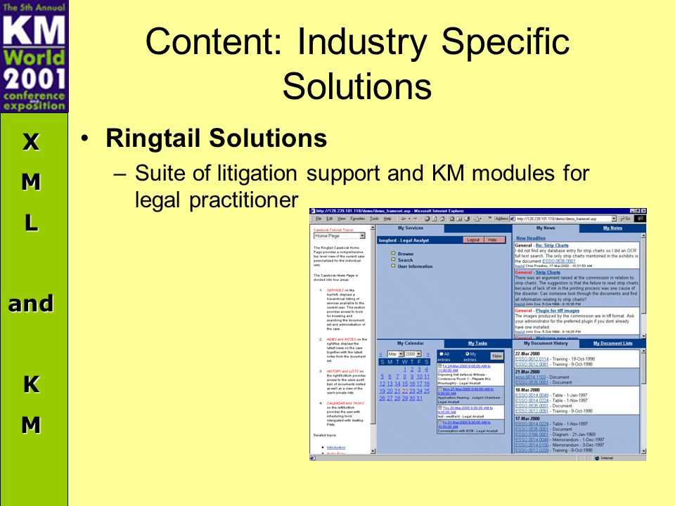XMLandKM Content: Industry Specific Solutions Ringtail Solutions –Suite of litigation support and KM modules for legal practitioner