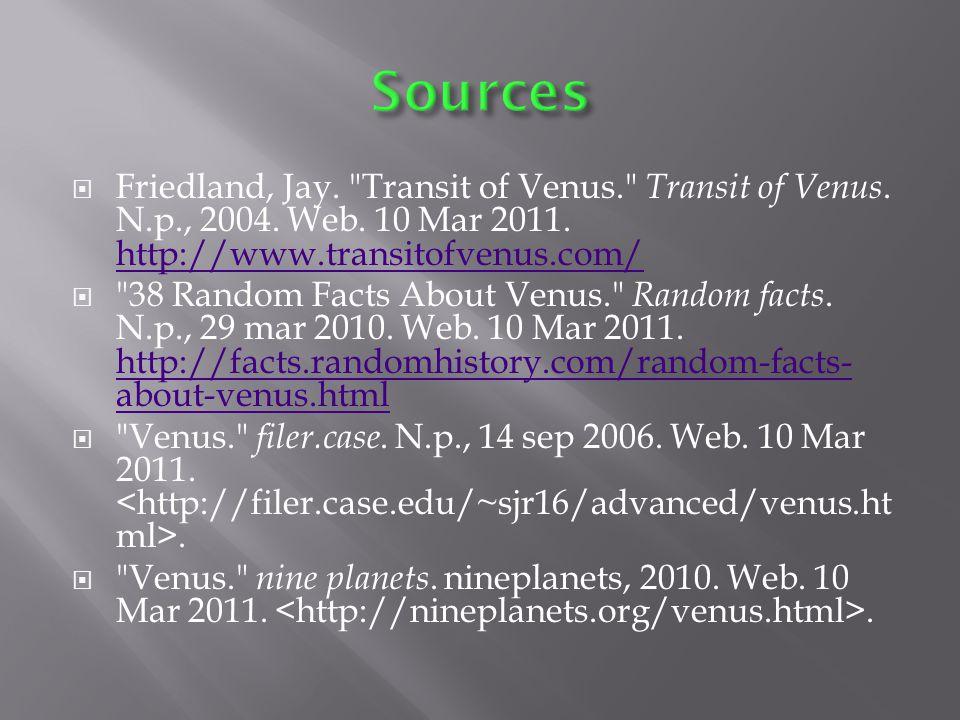  Friedland, Jay. Transit of Venus. Transit of Venus.