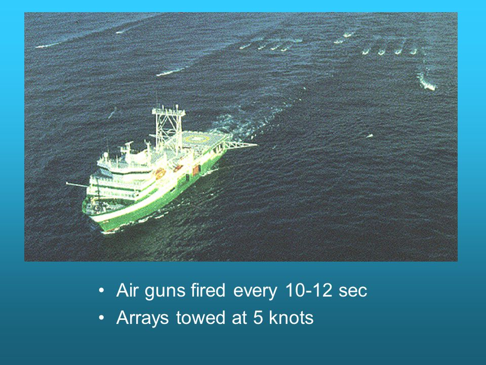 Air guns fired every sec Arrays towed at 5 knots