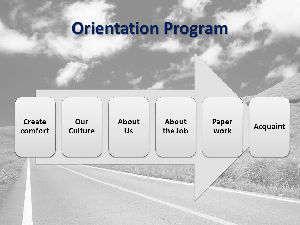 Orientation Program Create comfort Our Culture About Us About the Job Paper work Acquaint