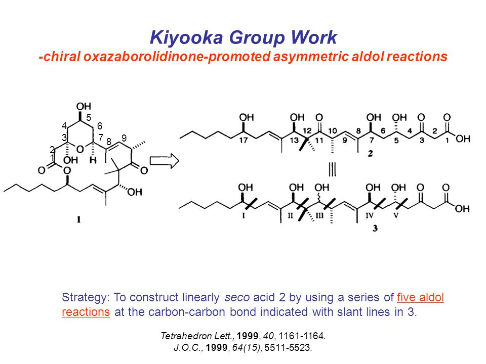 Kiyooka Group Work -chiral oxazaborolidinone-promoted asymmetric aldol reactions Strategy: To construct linearly seco acid 2 by using a series of five aldol reactions at the carbon-carbon bond indicated with slant lines in 3.