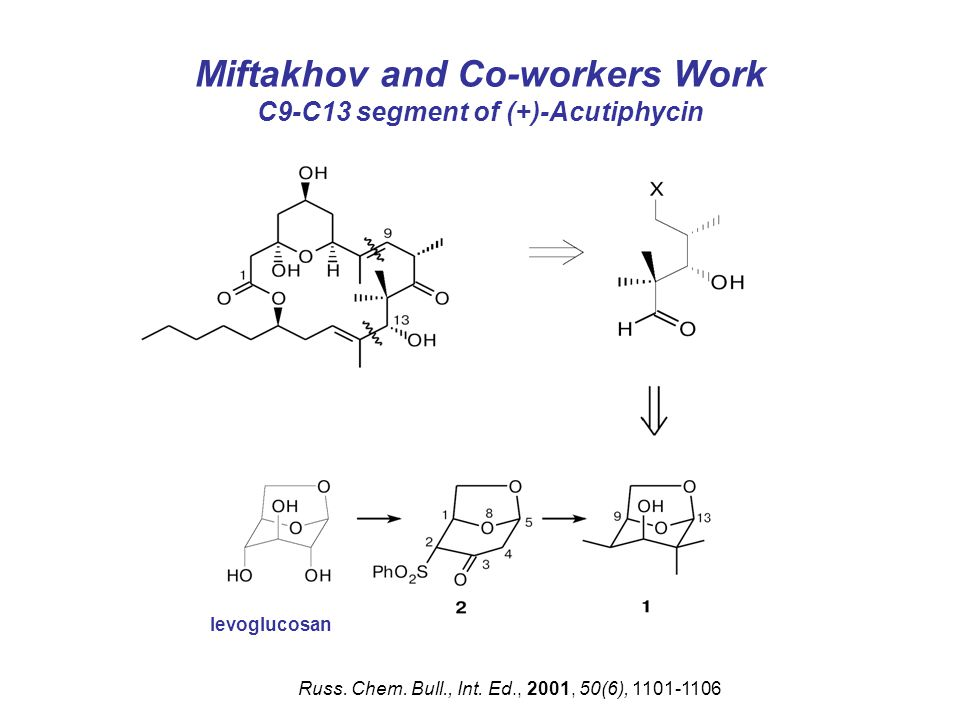 Miftakhov and Co-workers Work C9-C13 segment of (+)-Acutiphycin Russ.