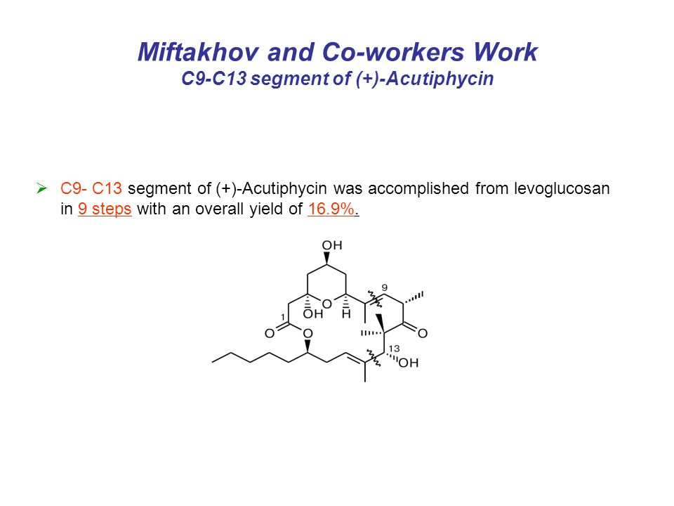  C9- C13 segment of (+)-Acutiphycin was accomplished from levoglucosan in 9 steps with an overall yield of 16.9%.