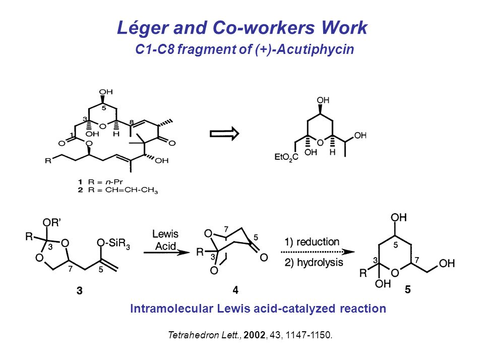 Léger and Co-workers Work C1-C8 fragment of (+)-Acutiphycin Tetrahedron Lett., 2002, 43, 1147-1150.