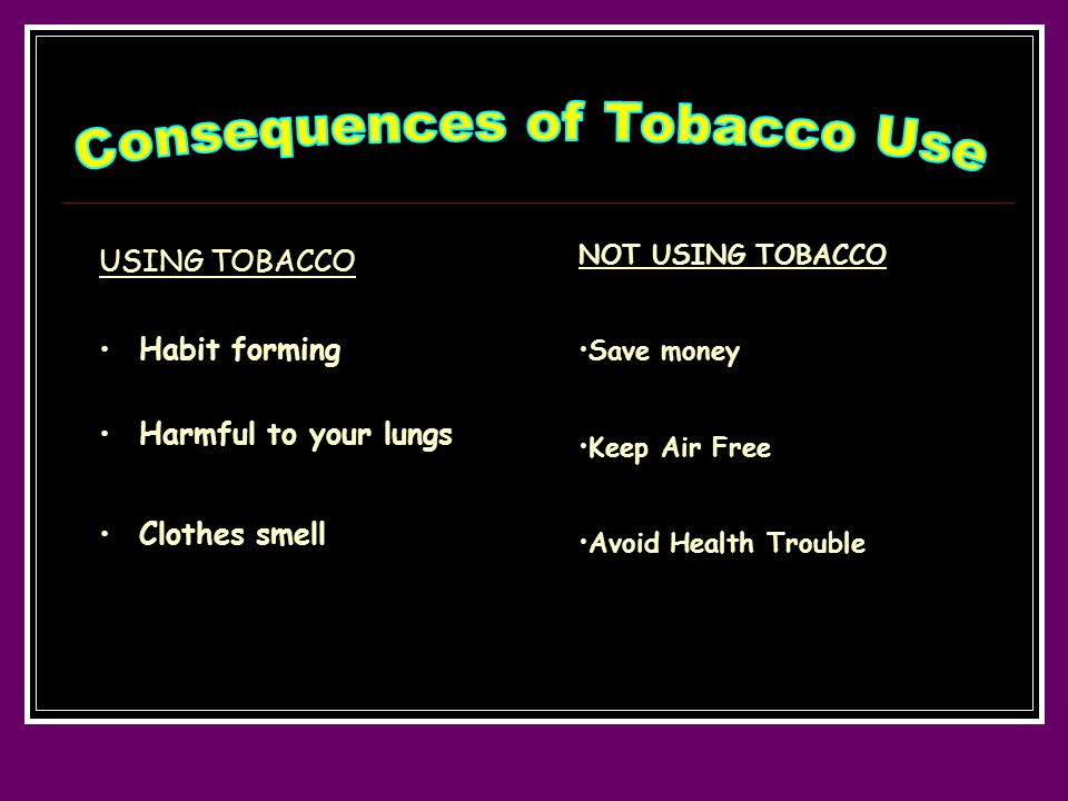 USING TOBACCO Habit forming Harmful to your lungs Clothes smell NOT USING TOBACCO Save money Keep Air Free Avoid Health Trouble