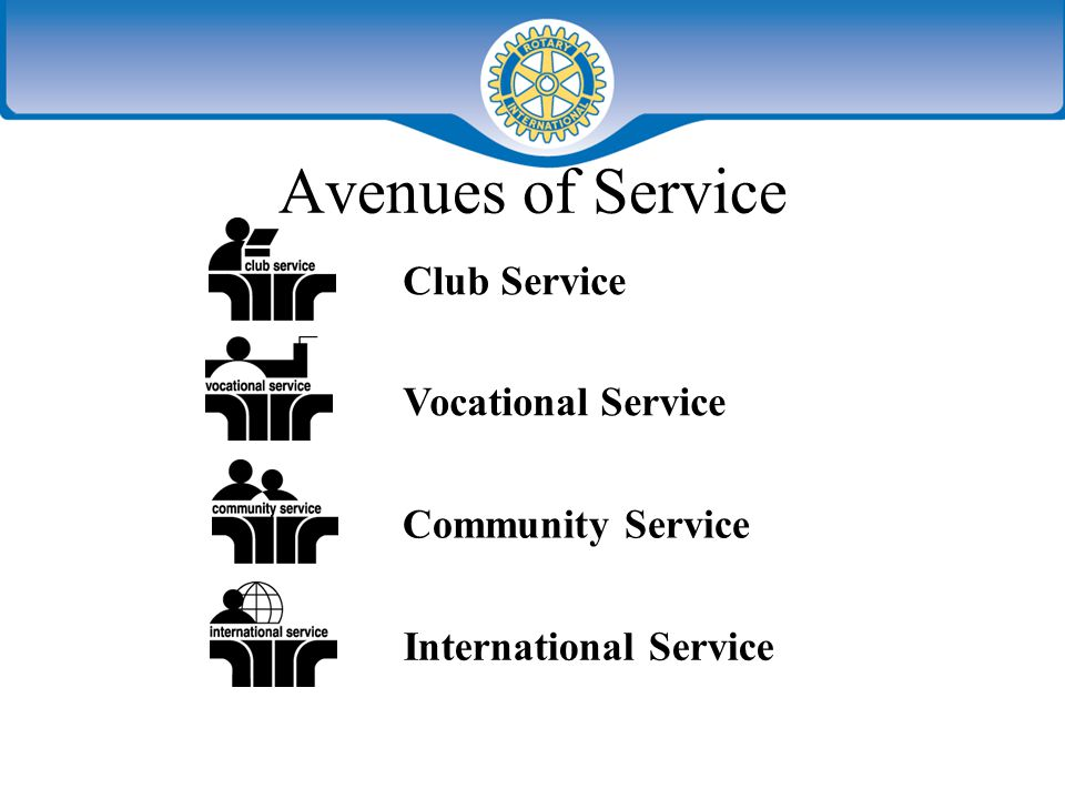 Avenues of Service Club Service Vocational Service Community Service International Service