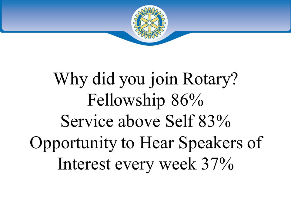 Why did you join Rotary.