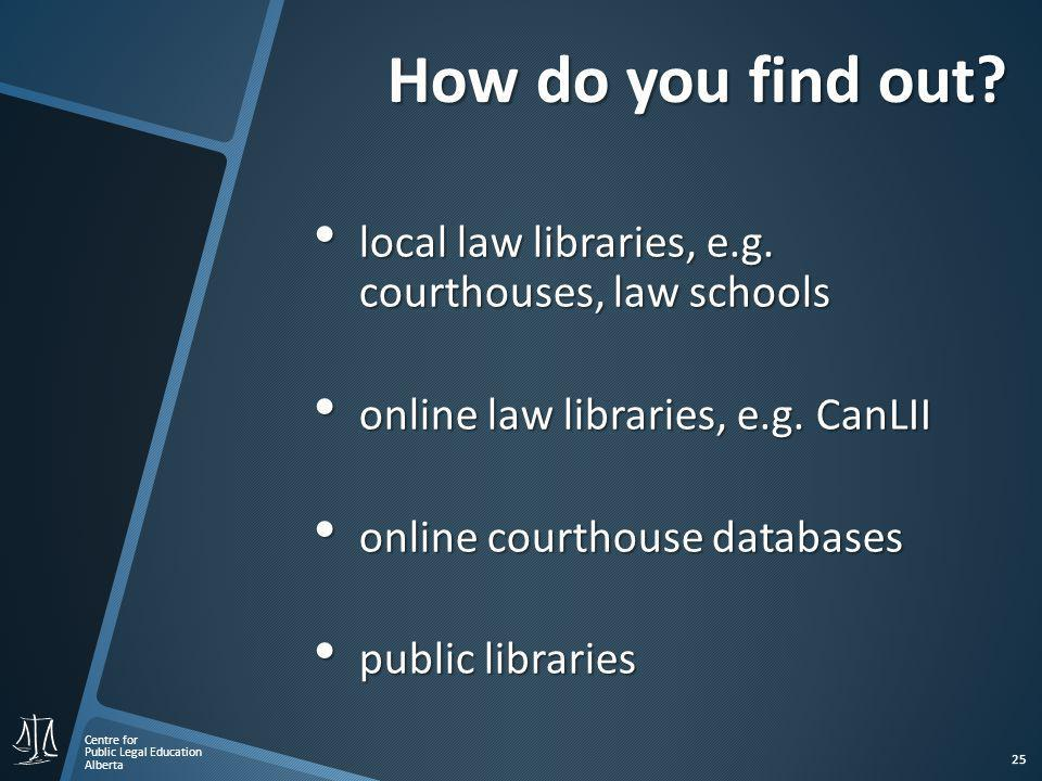 Centre for Public Legal Education Alberta 25 How do you find out.