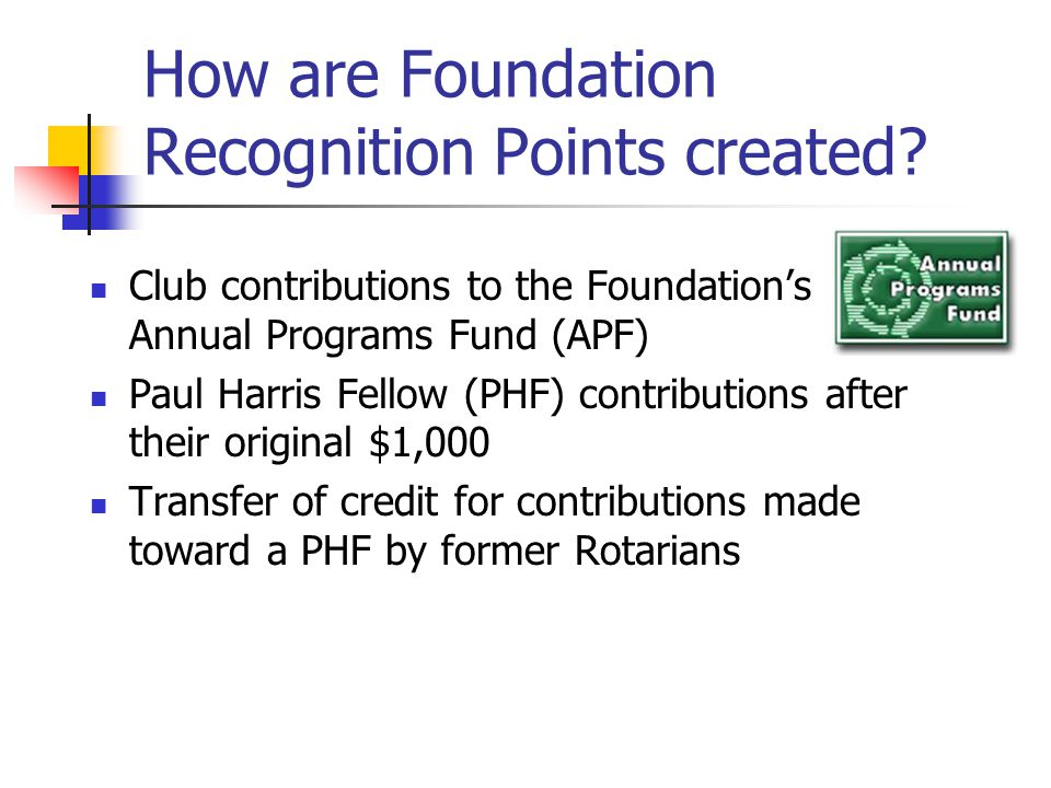 How are Foundation Recognition Points created.