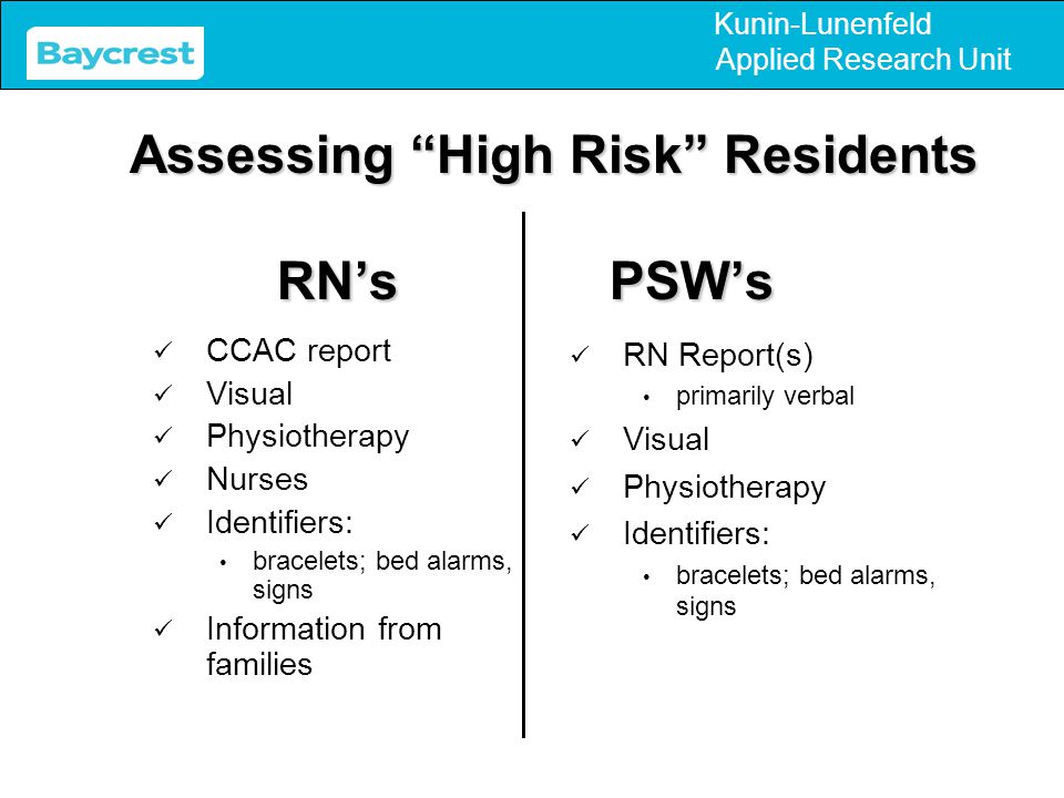 Kunin-Lunenfeld Applied Research Unit RN's PSW's CCAC report Visual Physiotherapy Nurses Identifiers: bracelets; bed alarms, signs Information from fa
