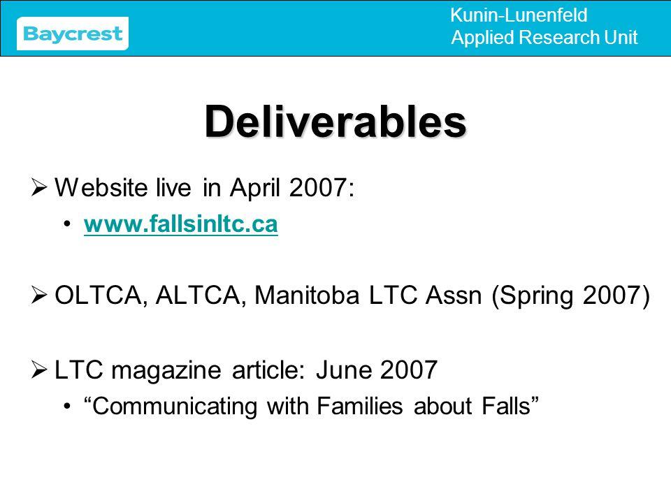 Kunin-Lunenfeld Applied Research UnitDeliverables  Website live in April 2007: www.fallsinltc.ca  OLTCA, ALTCA, Manitoba LTC Assn (Spring 2007)  LT