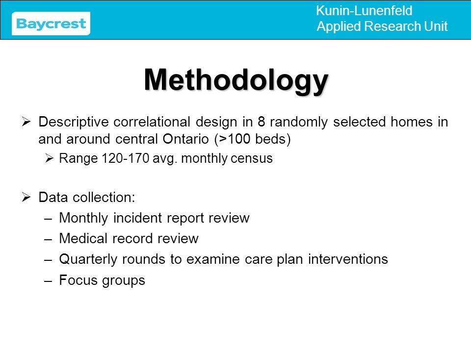 Kunin-Lunenfeld Applied Research UnitMethodology  Descriptive correlational design in 8 randomly selected homes in and around central Ontario (>100 b