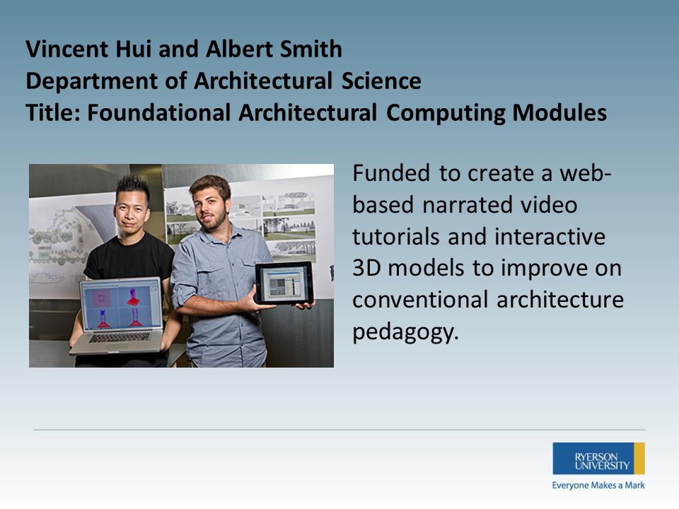 Funded to create a web- based narrated video tutorials and interactive 3D models to improve on conventional architecture pedagogy.