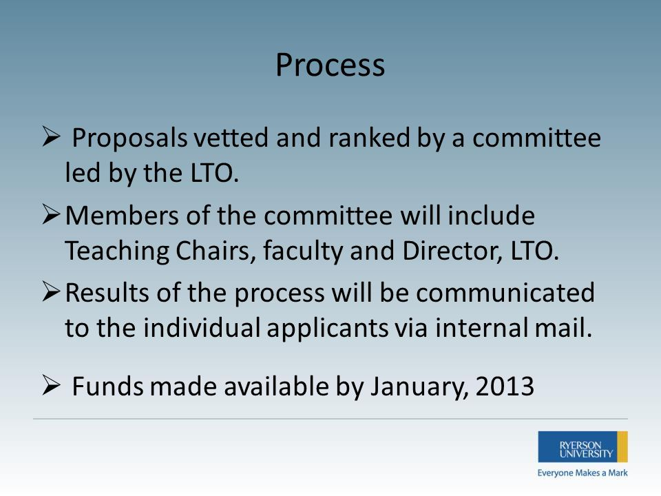 Process  Proposals vetted and ranked by a committee led by the LTO.