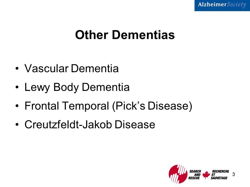 3 Other Dementias Vascular Dementia Lewy Body Dementia Frontal Temporal (Pick's Disease) Creutzfeldt-Jakob Disease
