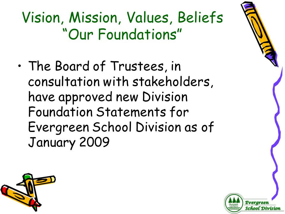 """Vision, Mission, Values, Beliefs """"Our Foundations"""" The Board of Trustees, in consultation with stakeholders, have approved new Division Foundation Sta"""