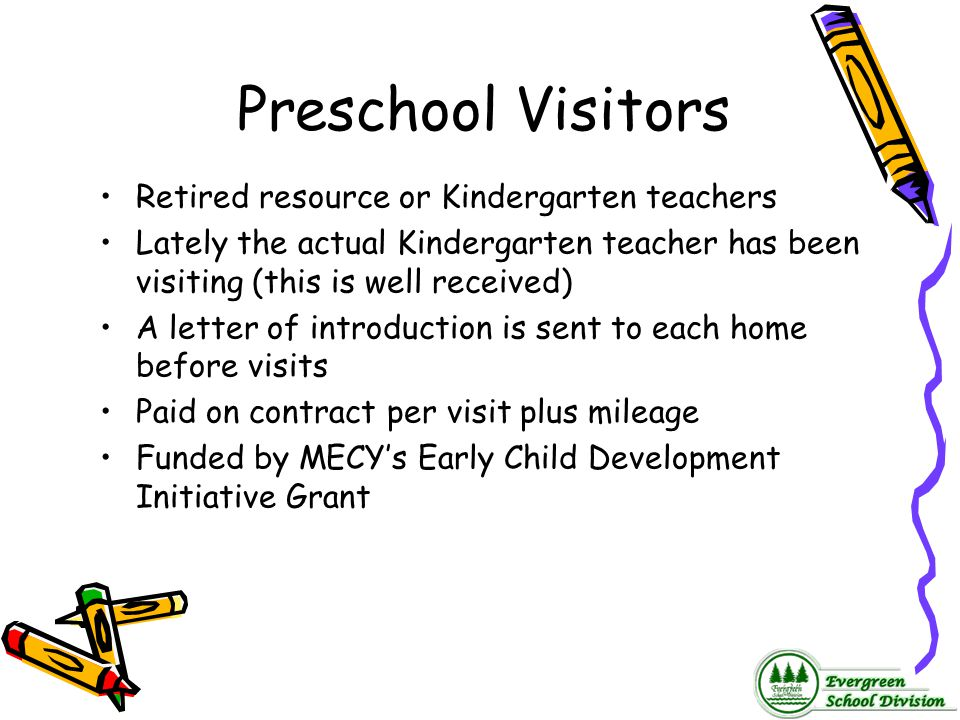 Preschool Visitors Retired resource or Kindergarten teachers Lately the actual Kindergarten teacher has been visiting (this is well received) A letter