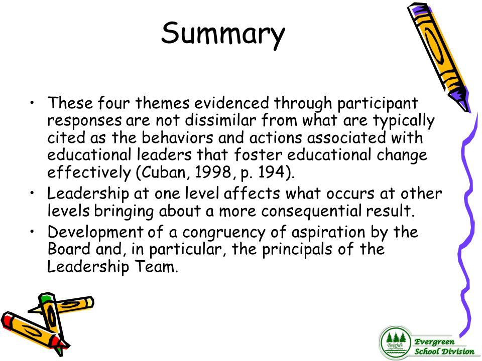 Summary These four themes evidenced through participant responses are not dissimilar from what are typically cited as the behaviors and actions associ