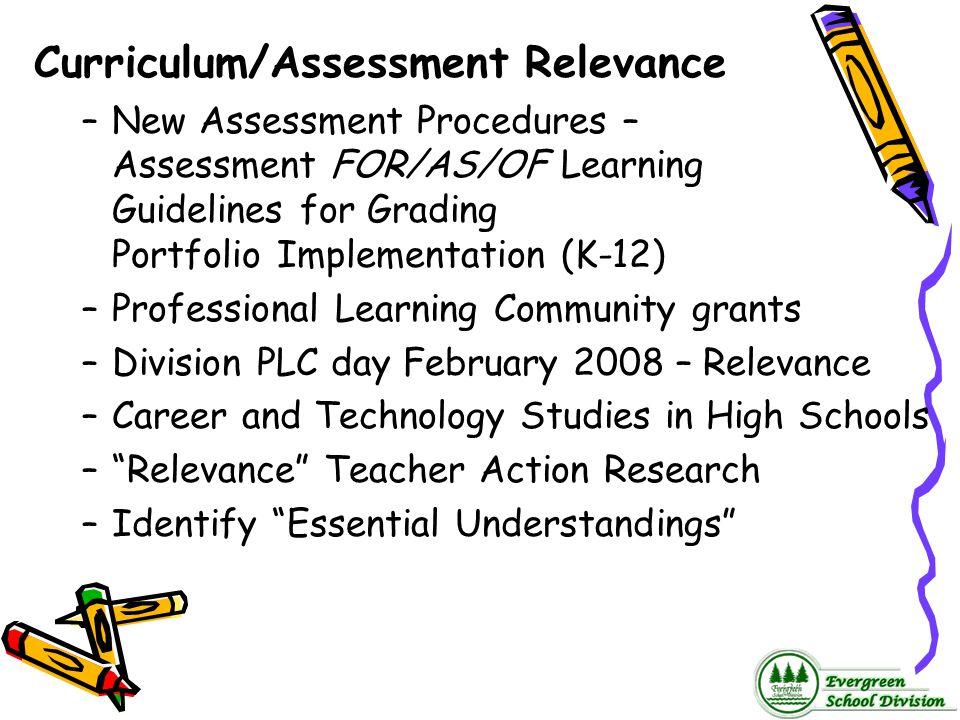 Curriculum/Assessment Relevance –New Assessment Procedures – Assessment FOR/AS/OF Learning Guidelines for Grading Portfolio Implementation (K-12) –Pro