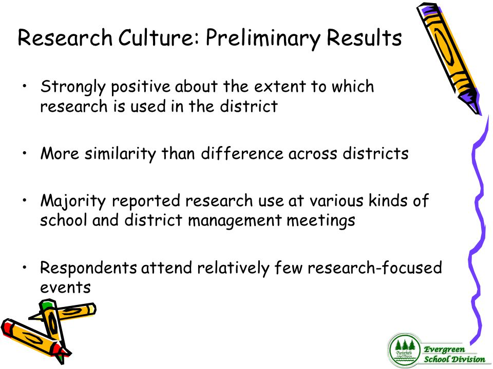 Research Culture: Preliminary Results Strongly positive about the extent to which research is used in the district More similarity than difference acr