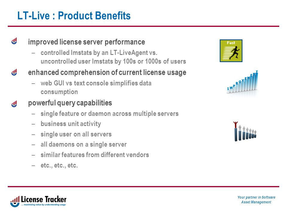 Your partner in Software Asset Management LT-Live : Product Benefits improved license server performance – controlled lmstats by an LT-LiveAgent vs.