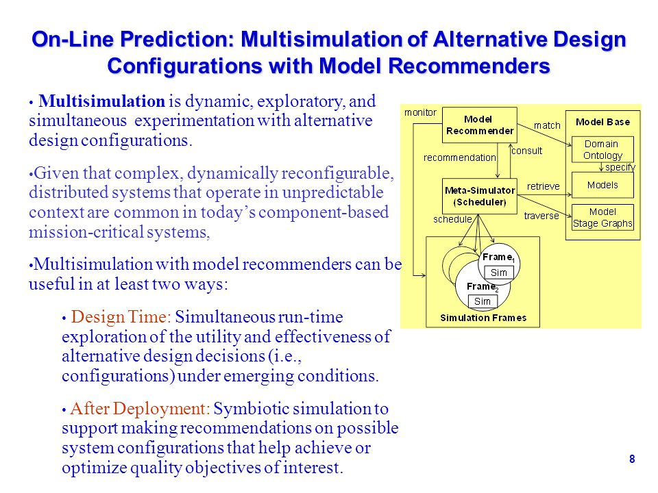 8 On-Line Prediction: Multisimulation of Alternative Design Configurations with Model Recommenders Multisimulation is dynamic, exploratory, and simultaneous experimentation with alternative design configurations.