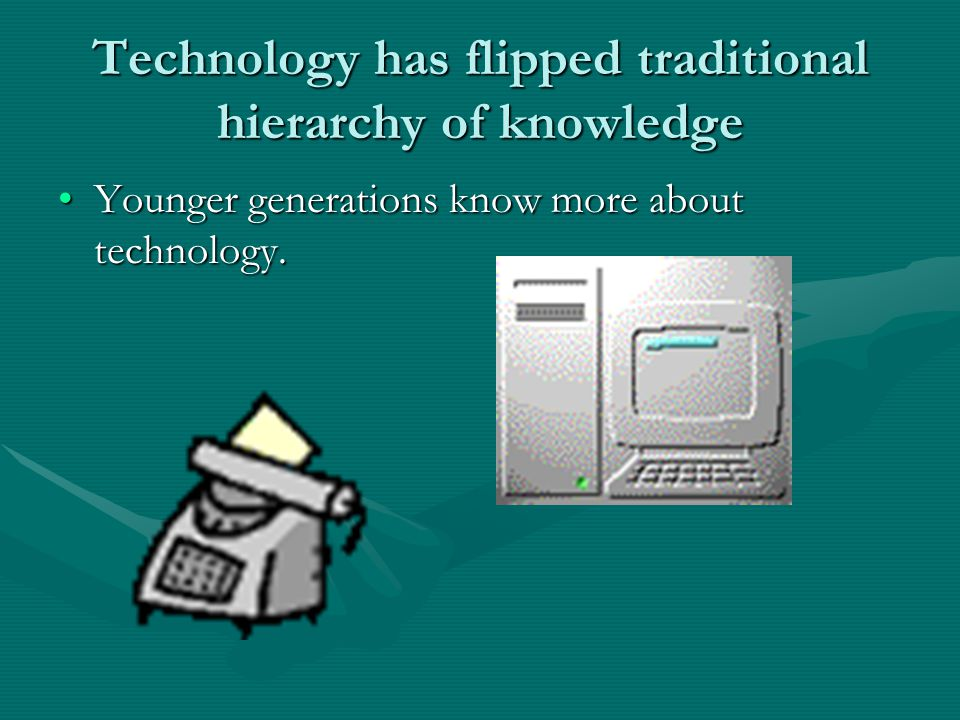 Technology has flipped traditional hierarchy of knowledge Younger generations know more about technology.Younger generations know more about technolog