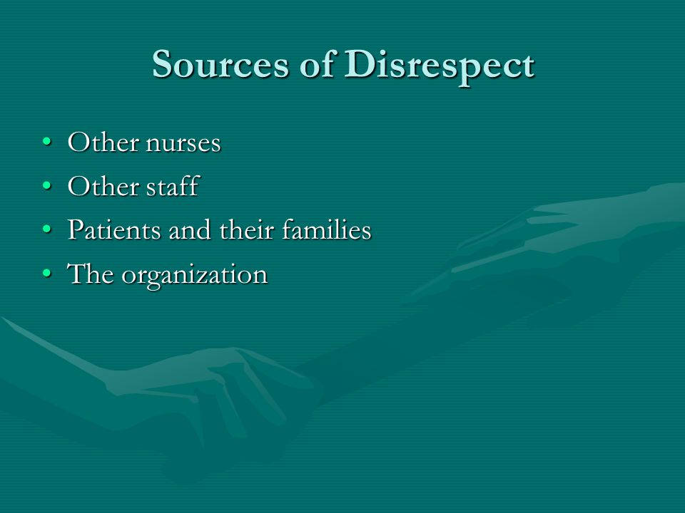 Sources of Disrespect Other nursesOther nurses Other staffOther staff Patients and their familiesPatients and their families The organizationThe organ