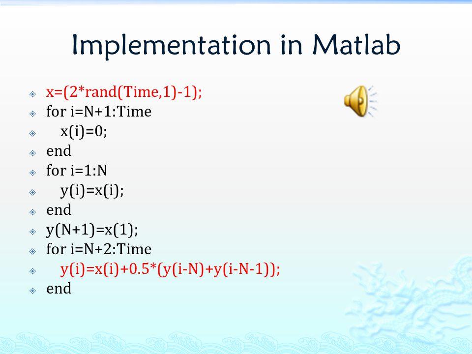 Implementation in Matlab  x=(2*rand(Time,1)-1);  for i=N+1:Time  x(i)=0;  end  for i=1:N  y(i)=x(i);  end  y(N+1)=x(1);  for i=N+2:Time  y(i)=x(i)+0.5*(y(i-N)+y(i-N-1));  end