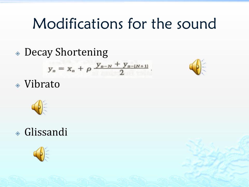 Modifications for the sound  Decay Shortening  Vibrato  Glissandi