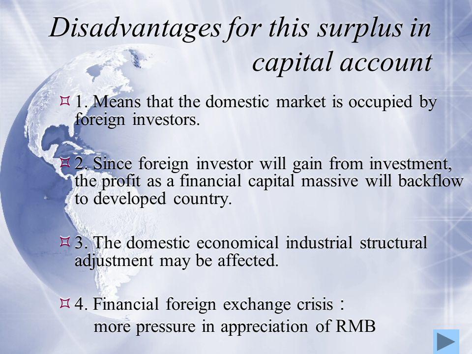 Disadvantages for this surplus in capital account  1.