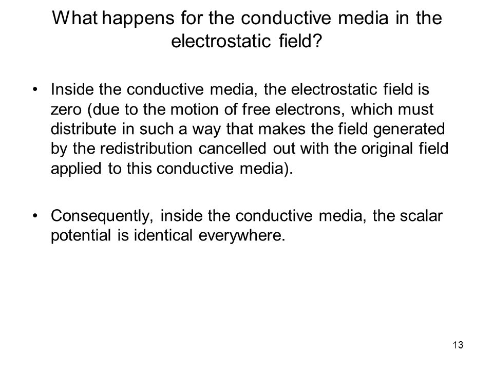 13 What happens for the conductive media in the electrostatic field.