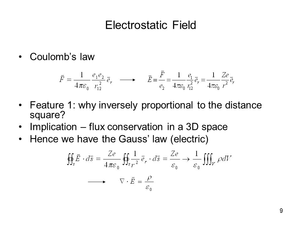 9 Electrostatic Field Coulomb's law Feature 1: why inversely proportional to the distance square.