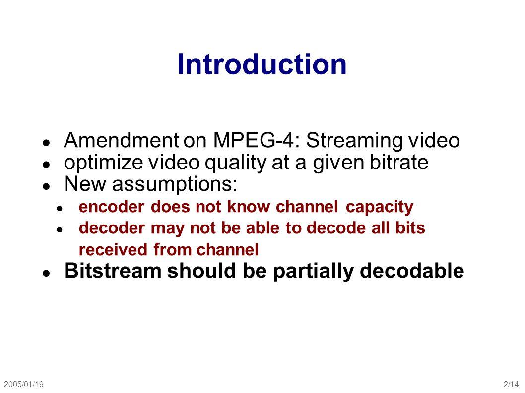 2005/01/193/14 Video Coding Performance