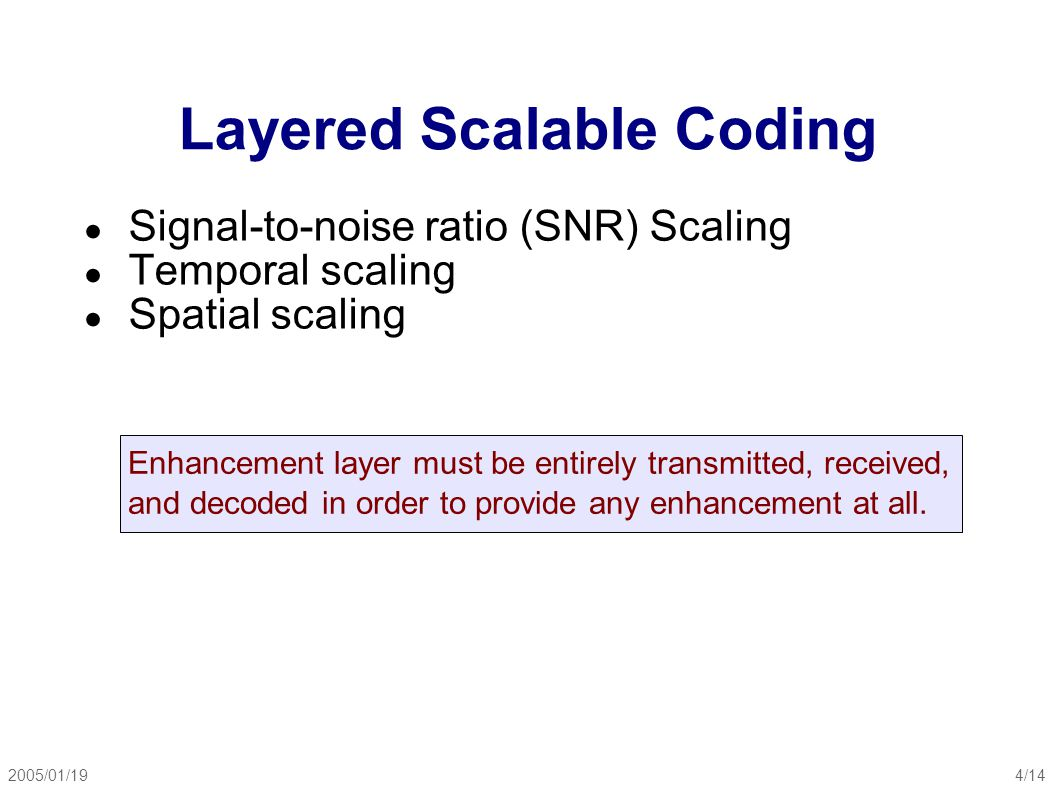 2005/01/195/14 Layered Scalable Coding ● Signal-to-noise ratio (SNR) Scaling ● base layer is regularly DCT encoded, data removed using quantization ● enhancement layer: DCT encoding of (original- inverse DCT of quantized base layer) ● result depends on whether enhancement layer is received and used SNR scalability decoder (MPEG-2)