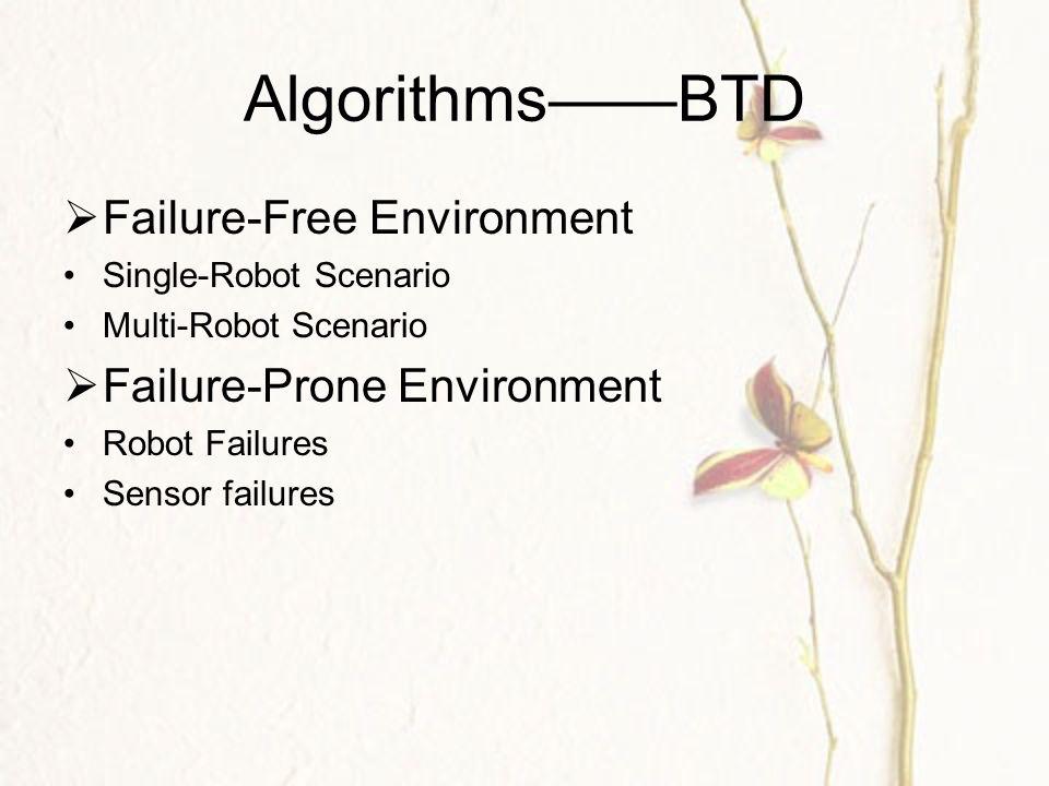 Algorithms——BTD  Failure-Free Environment Single-Robot Scenario Multi-Robot Scenario  Failure-Prone Environment Robot Failures Sensor failures