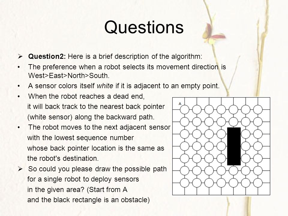 Questions  Question2: Here is a brief description of the algorithm: The preference when a robot selects its movement direction is West>East>North>South.