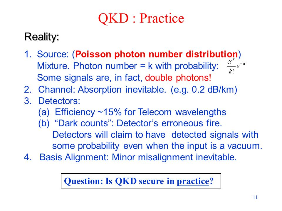 11 QKD : Practice Question: Is QKD secure in practice.