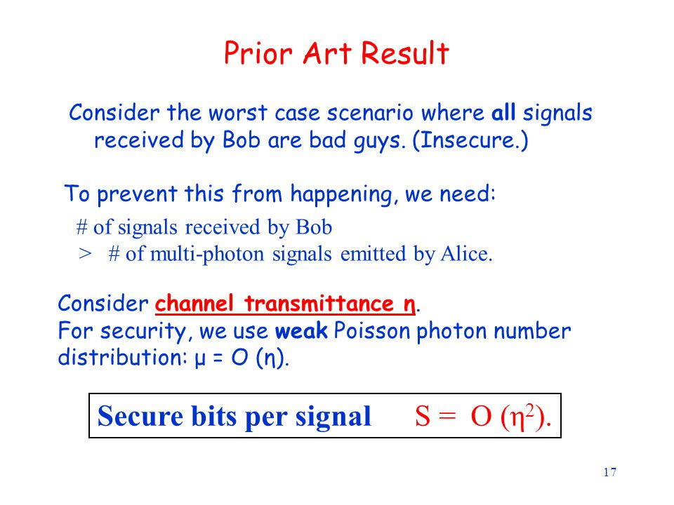 17 Prior Art Result Consider the worst case scenario where all signals received by Bob are bad guys.